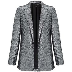 Miss Selfridge Silver Sequin Blazer ($29) ❤ liked on Polyvore featuring outerwear, jackets, blazers, silver, silver blazer, sequin jacket, silver blazer jacket, christmas blazer and miss selfridge jackets