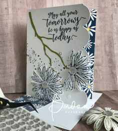 2017 Paper: Thick Whisper White and Old Olive Cardstock, plus Delightful Daisy Designer Series Paper. Ink: Night of Navy Stamps: Delightful Daisy and Gorgeous Grunge Tools 'N Embellishments: Daisy Punch, Seasonal Layers Thinlits Dies, Faceted Gems, Cupcakes & Carousels Embellishment Kit (sequins)