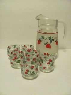 Teleflora Strawberry Pitcher 6 Strawberry by MamabirdsVintage, $40.00. Wow! This is the exact Pitcher that I Have!
