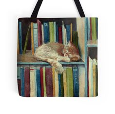 Cats and books were pretty much made to go together like peanut butter and jelly. Just look at the design on this adorable Redbubble tote.