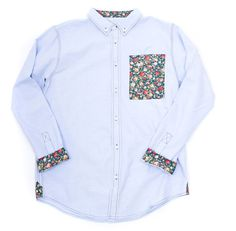 love this men's shirt floral pocket cuffs and collar on a pale blue button up