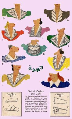 vintage collars illustrations