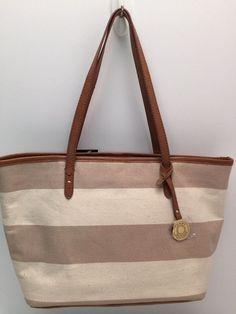 Tommy Hilfiger Handbag *Khaki White Stripe Shopper Shoulder Purse Tote New $85