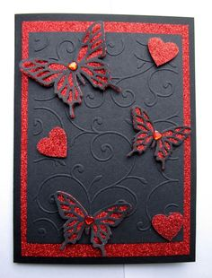 handmade gothic valentines card - with red glitter butterfies - red & black