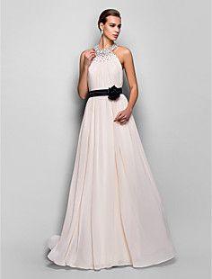 ラインホルター床の長さのジョーゼットやストレッチサテンのイブニングドレス(759809) – JPY ¥ 11,272