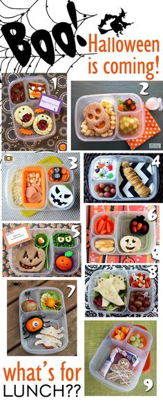 A frighteningly extensive collection of Halloween themed lunches -- cute ideas for healthy lunches