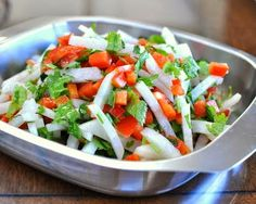 Daikon & Pepper Salad, crisp and fresh. For Weight Watchers, just #PP1. Low carb. Vegan.