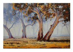 Misty GUM TREES Oil PAINTING commissioned Australian artwork  landscape by G.Gercken