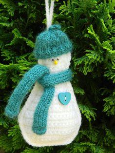 Crochet Christmas Tree Decoration Snowman by benasworkshop on Etsy
