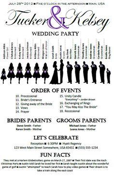 silhouette wedding program httpswwwetsycomlisting115482468