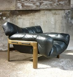 // Angelo Mangiarotti and Chiara Pampo; Rosewood, Teak and Leather Lounge Chair…