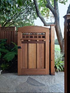 If you are adding any details to the exterior or landscape of your Craftsman-style home, it pays to seek out the highest quality craftsmanship you can - after all, it's not called Craftsman style for nothing! Beautiful details on a fence or garden gate, like the one shown here, will echo the architecture of your home and enhance the view from the street. Craftsman Exterior Door, Craftsman Style Doors, Craftsman Home Decor, Craftsman Windows, Craftsman Houses, Craftsman Bungalows, Craftsman Outdoor Furniture, Craftsman Style Bungalow, Wood Fence Gates