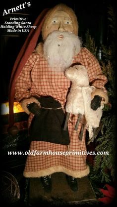 Arnett's Primitive Santa In Red Plaid Coat (Made In USA)
