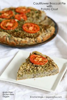 Cauliflower Broccoli Masala Pie with Potato Black Eyed Pea Crust. Gluten-free Grain-free Recipe for Virtual Vegan Potluck. | Vegan Richa
