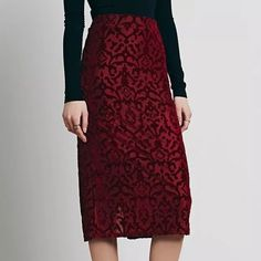 FREE PEOPLE Skirt Embroidered Velvet Midi Pencil Size Large. New without tags. $98 Retail + Tax.  • Pretty and sophisticated, this stretchy pencil skirt features an elastic waistband and split at lower back. • Long sheer lace-like midi skirt lining.  • Perfect for dressing up or down! • Polyester, nylon, rayon. • Measurements provided in comment(s) section below.  {Southern Girl Fashion - Closet Policy}   ✔️ Same-Business-Day Shipping (10am CT). ✔️ Reasonable best offer considered when…