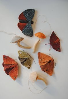 Reserved for Lisa/ Set of 3 mushrooms and one moth / soft sculpture / textile art