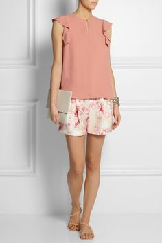 Chloe | Ruffled crepe top | Giambattista Valli | Floral-print silk-shantung shorts | Ancient Greek Sandals | Niove leather sandals | Stella McCartney | Faux leather clutch |