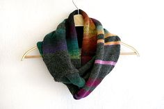 Knit infinity scarf cowl with colorful stripes. I love stripes - they are elegant and fun at the same time. The usual grey scarf becomes more