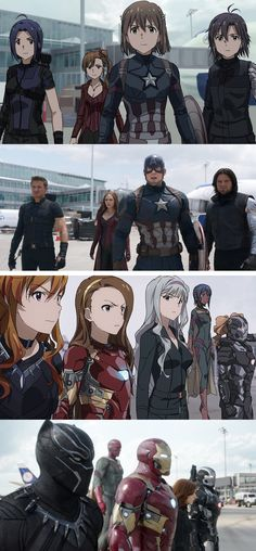 Captain America: Civil War done in anime style is spot on to the film and well done