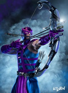 Hawkeye from the Avengers Marvel Dc Comics, Marvel Avengers, Heros Comics, Marvel Heroes, Hawkeye Marvel, Hawkeye Comic, Comic Book Characters, Comic Book Heroes, Marvel Characters