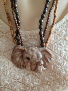 Vintage Lucky Elephant 1980s Safari Tribal African 3 Strand Beaded Necklace Signed by Carol Halmy - Handmade Vintage Jewelry on Etsy, $23.50