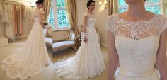 Vintage Ivory 2013 Hot Sale Elegant High Neck Cap Sleeve A line Chapel Train Lace Sash Sheer Bridal Wedding Dresses Gowns #6354326