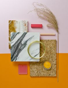 5 Weird Color Schemes You Should Try in Real Life mood board with orange background, brown granite, marble, hot pink swatches, and dried grass Living Room Color Schemes, Colour Schemes, Layout Design, Logo Design, Web Design, Graphic Design, Composition Photo, Mood Board Interior, Material Board