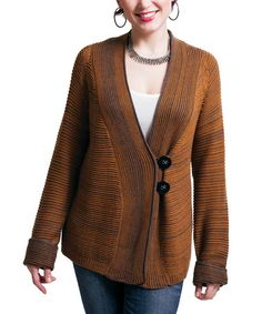 Take a look at this Cinnamon Flannel Ribbed Cardigan by RICO LifeStyle on #zulily today! $55 !!