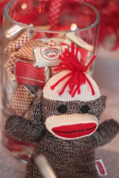 Sock monkey party - printable mini Hershey labels from Chickabug