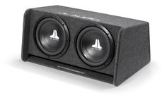 Enclosed Subwoofer System with Dual 12W0v3-4 Subwoofer Drivers, Dark Gray Carpet (600 W, 2 Ω) - Ported Enclosure