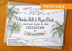 Beachy Keen: Hand Drawn Wedding Invitation Printable