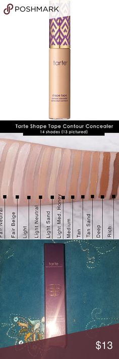 Tarte shape tape concealer (light medium honey) Sculpt and highlight as you mask imperfections with this 2-in-1 full coverage concealer. The hydrating, longwearing formula delivers natural, radiant coverage across all skin types so you can instantly brighten and cover acne, dark circles and redness while softening the look of pores and fine lines. Wear it 1-2 shades lighter or darker, and it works as a creamy highlighter or contouring stick. ONLY SWATCHED FIRM PRICE  Color light-med honey…