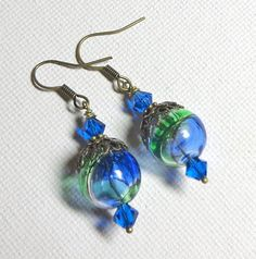 Jewelry Earrings Blue Green Clear Hand Blown by SpiritCatDesigns, $5.00