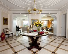 ceiling, floor, table