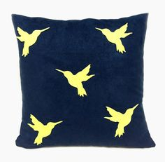 Yellow Humming Birds Navy Suede Pillow Cover. by RaineStyleHome