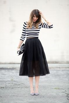 Striped 3/4 sleeve top, black pleated midi skirt, striped heels. Super chic!