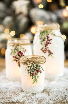 DIY Snowy Mason Jars – create faux snow-covered mason jar luminaries for the holiday season. bottle crafts with lights DIY Snowy Mason Jars Wine Bottle Crafts, Mason Jar Crafts, Mason Jar Diy, Bottle Bottle, Wine Bottles, Glitter Mason Jars, Burlap Mason Jars, Christmas Mason Jars, Noel Christmas