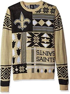 9084a8eed5c Klew NFL Men s New Orleans Saints Patches Ugly Sweater