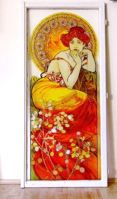 Alphonse Mucha: Topaz, slikano na prozoru Alphonse Mucha, Topaz, Glass, Painting, Art, Craft Art, Drinkware, Paintings, Kunst