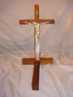 Vintage Religious Wall Crucifix Sick Call Cross w Compartment Wood and Gold tone Seller florasgarden on ebay