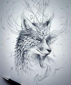 Spirit Fox – Original Drawing – Fantasy Pencil Art – Surreal Flower Fox Artwork Sketch – Symbols of Nature Series by JojoesArt / Demogram Fantasy Kunst, Fantasy Drawings, 3d Drawings, Pencil Drawings, Fantasy Art, Fox Fantasy, Fantasy Tattoos, Drawing Sketches, Word Art