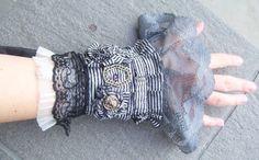 cuff, navy, saiylor lolita, black and white, lace, gothic, vintage brass, grey lace, victorian, steampunk, vampire by radusport on Etsy https://www.etsy.com/listing/71341905/cuff-navy-saiylor-lolita-black-and-white