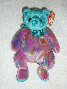 Ty Beanie Baby ~ DECEMBER the Birthday Bear ~ RETIRED 2001 w  Tag 8