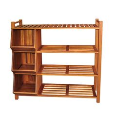 @Overstock.com - Outdoor 4-tier Shoe Rack/ Cubby - Organize your closet or entryway with this wooden shoe organizer. Constructed of acacia hardwood, this piece is weatherproof and designed to be used indoors or outdoors. With its three storage cubbies and a four-tier rack, you can store plenty of shoes.    http://www.overstock.com/Home-Garden/Outdoor-4-tier-Shoe-Rack-Cubby/6731194/product.html?CID=214117  $124.16