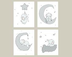 Éléphant pépinière Art : Un ensemble de gravures déléphants dans le ciel de nuit, avec la lune et les étoiles, un rêveur ajout à votre pépinière.  Vous pouvez personnaliser ces impressions de toutes les couleurs vous choisir, soit du nuancier ou une image ou un lien, faites le moi savoir et je peux créer une liste personnalisée pour vous !  * Être sûr de choisir votre taille dans la liste déroulante ci-dessus.  Ici chez Sweet Melody dessins nous aimons création artistique mignon tout-petits…