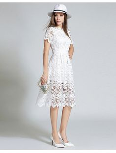 white lace dress & white lace dress ` white lace dress short ` white lace dress long ` white lace dress with sleeves ` white lace dress outfit ` white lace dress boho ` white lace dress casual ` white lace dress styles nigerian Winter Dress Outfits, Casual Dress Outfits, Trendy Dresses, Simple Dresses, Summer Dresses, Blue Lace Midi Dress, Midi Dress Outfit, Floral Shirt Dress, White Lace Dresses