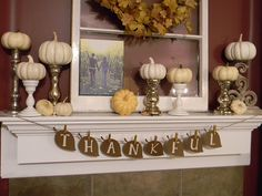 Shelf Decor Settings With Pumpkins On Candle Sticks, Thankful Letter On Hanging Leaves Papers