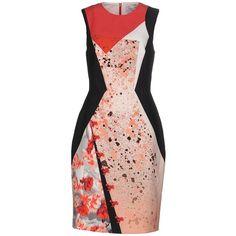 Prabal Gurung Knee-length Dress ($440) ❤ liked on Polyvore featuring dresses, coral, prabal gurung, stretch tube dress, knee length dresses, zip dress and knee high dresses