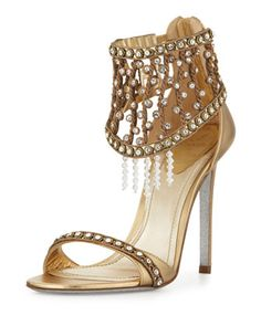 Rene Caovilla metallic crystal cage strap sandal
