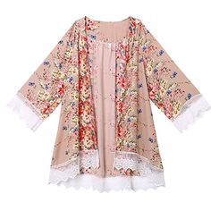 Fedi Women Boho Fringe Floral Kimono Cardigan Lace Tassels Beach Cover Up Cape Shirt Multi Large >>> More info could be found at the image url.